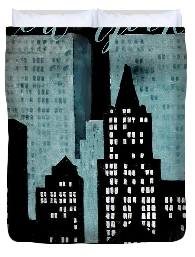 New York Duvet Cover featuring the painting New York Art Deco by Mindy Sommers