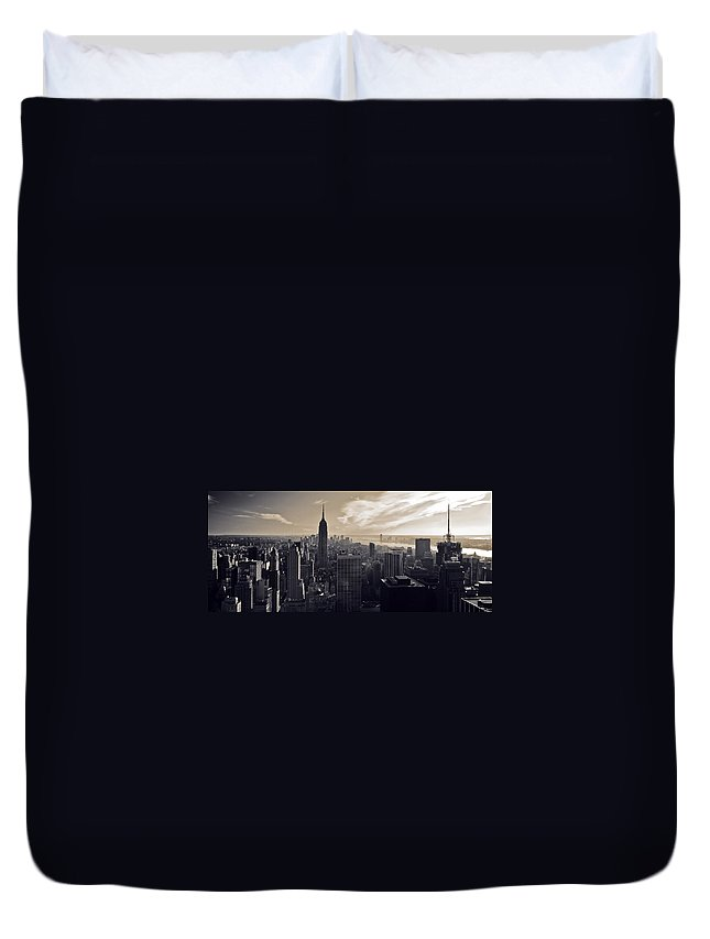 New York Duvet Cover featuring the photograph New York by Dave Bowman