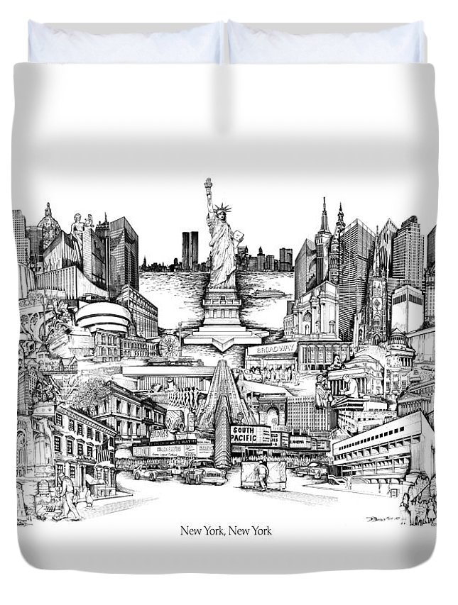 City Drawing Duvet Cover featuring the drawing New York by Dennis Bivens