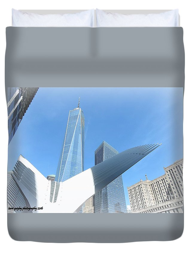 New York City Duvet Cover featuring the photograph New York Freedom by Tami Quigley