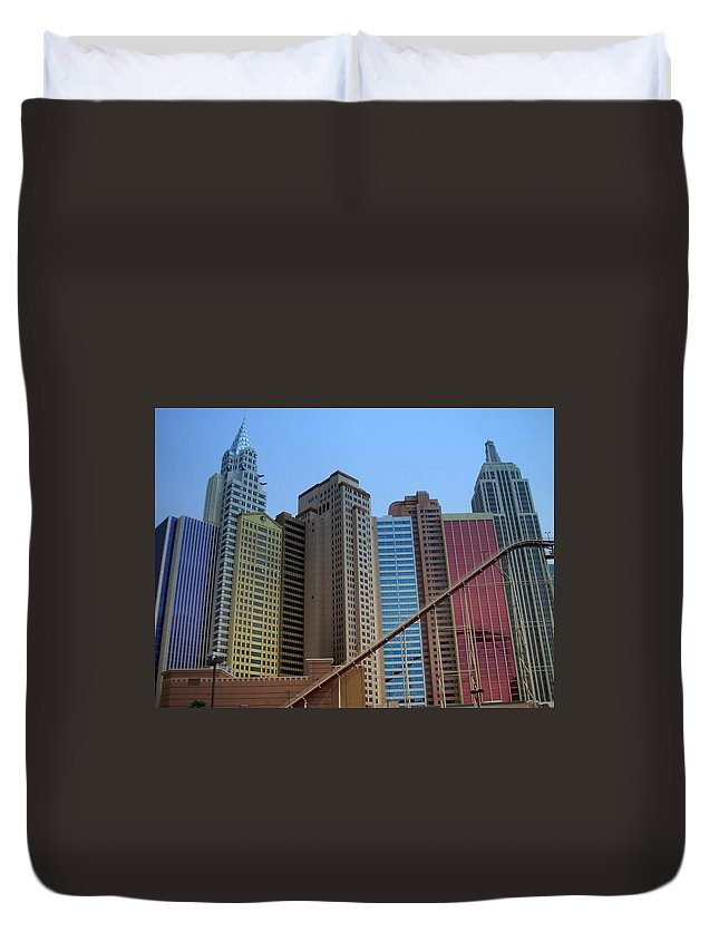Vegas Duvet Cover featuring the photograph New York Hotel by Anita Burgermeister