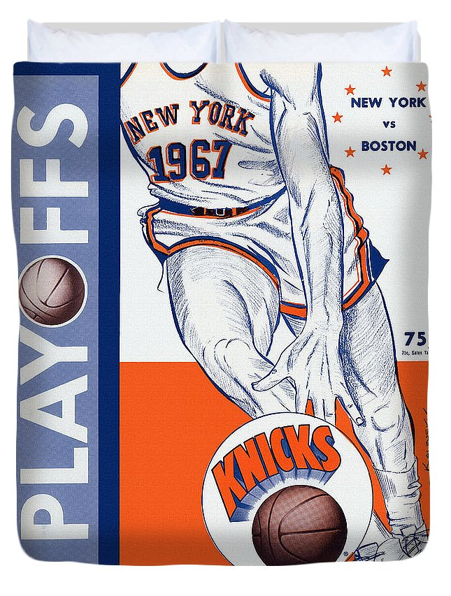 New York Duvet Cover featuring the painting New York Knicks V Boston 1967 Playoff Program by John Farr