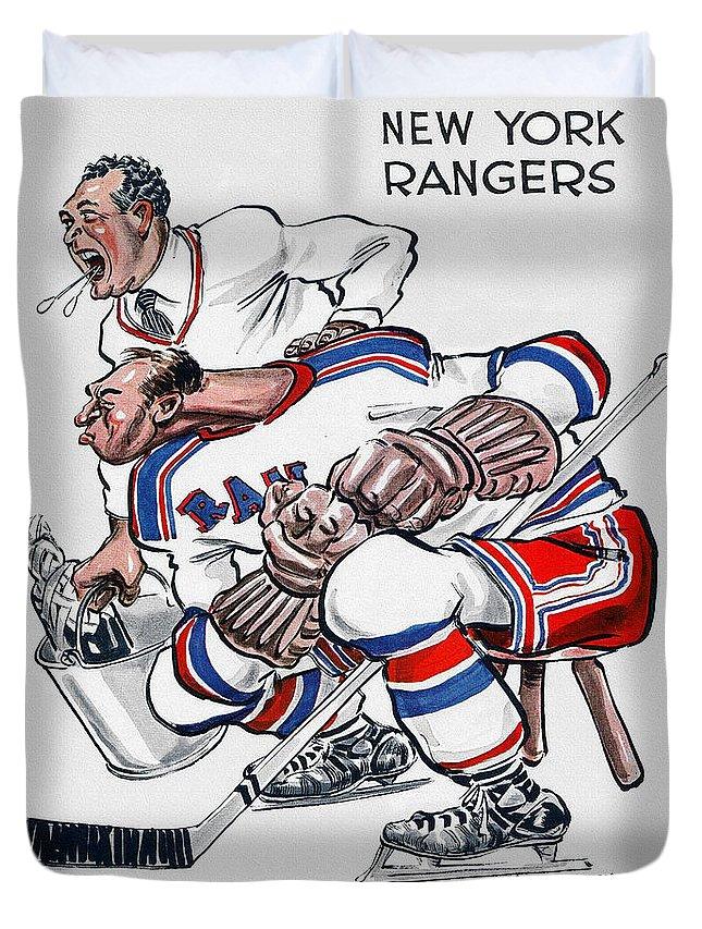 New York Duvet Cover featuring the painting New York Rangers 1960 Program by John Farr