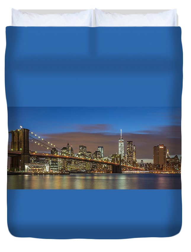 Architecture Duvet Cover featuring the photograph New York Skyline - Brooklyn Bridge Panorama - 2 by Christian Tuk