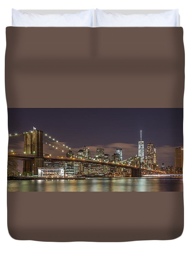 Architecture Duvet Cover featuring the photograph New York Skyline - Brooklyn Bridge Panorama - 3 by Christian Tuk