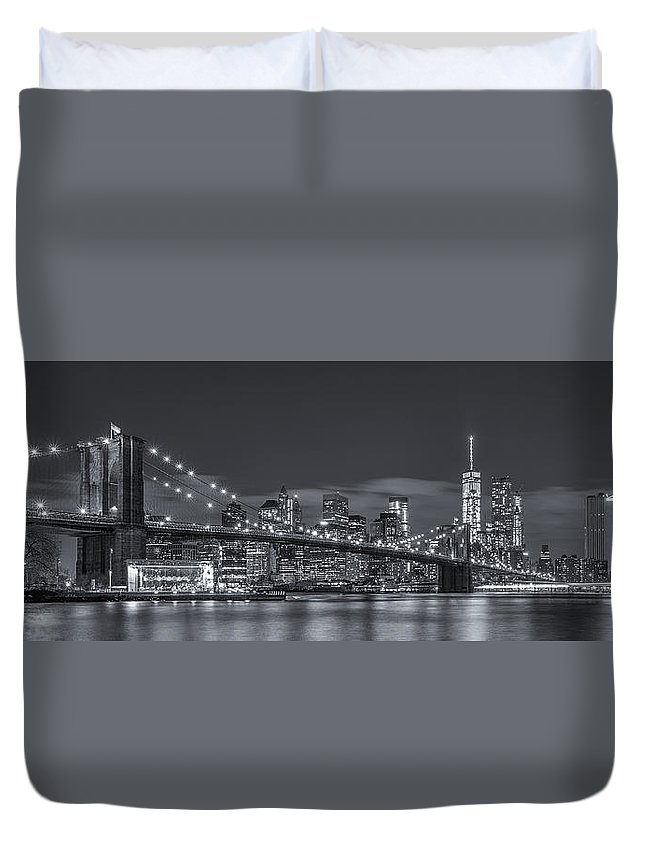Architecture Duvet Cover featuring the photograph New York Skyline - Brooklyn Bridge Panorama - 4 by Christian Tuk