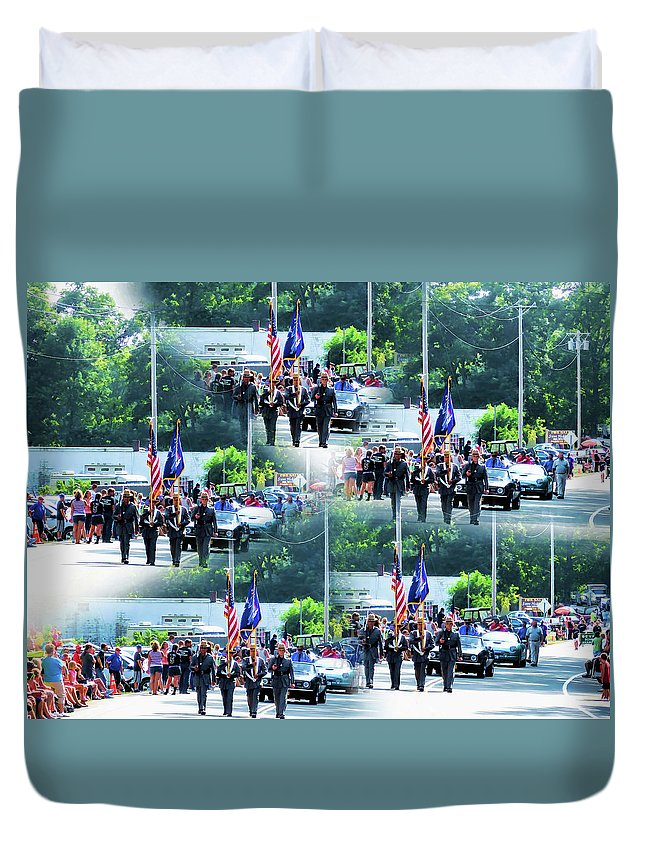 New York State Duvet Cover featuring the painting New York State Police Color Guard 1 by Jeelan Clark