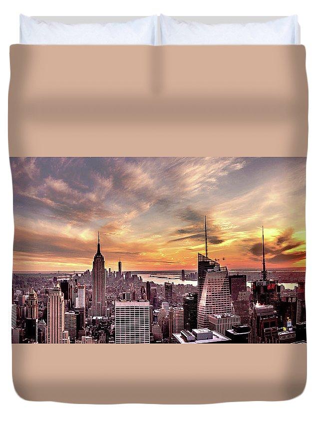 New York Duvet Cover featuring the photograph New York Sunset by Jordan Hogenson