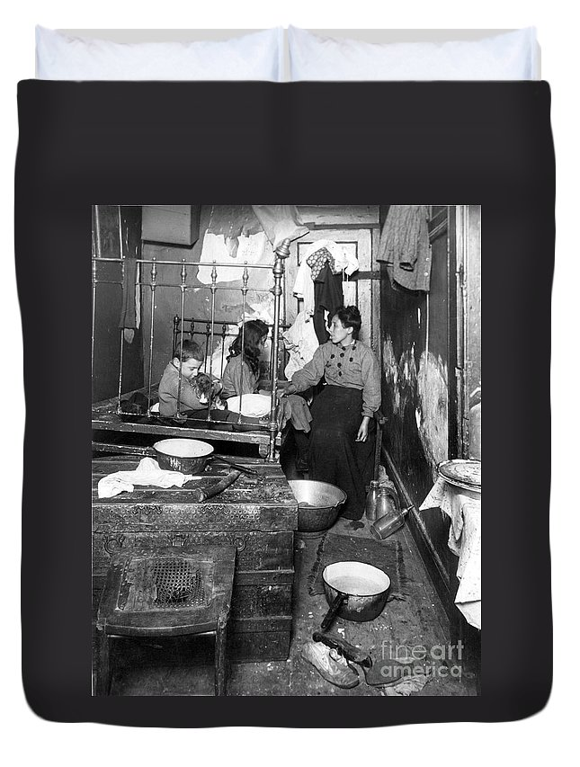 1910 Duvet Cover featuring the photograph New York Tenement 1910 by Granger