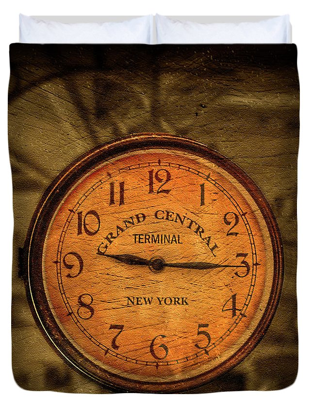 Antique Duvet Cover featuring the photograph New York Times by Evelina Kremsdorf