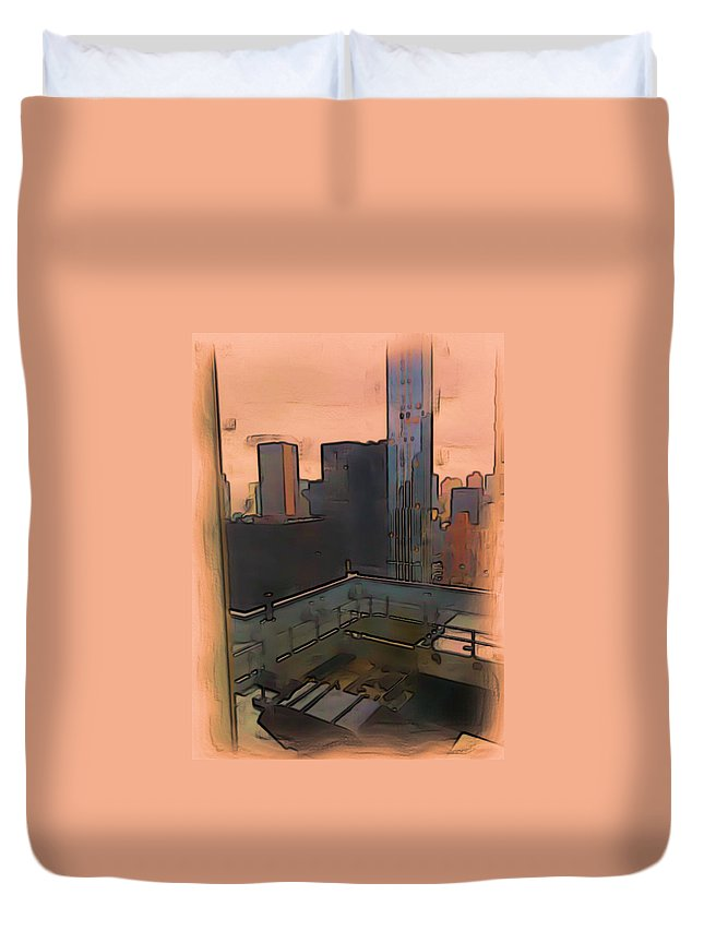 Watercolor Duvet Cover featuring the digital art New York by Tristan Armstrong