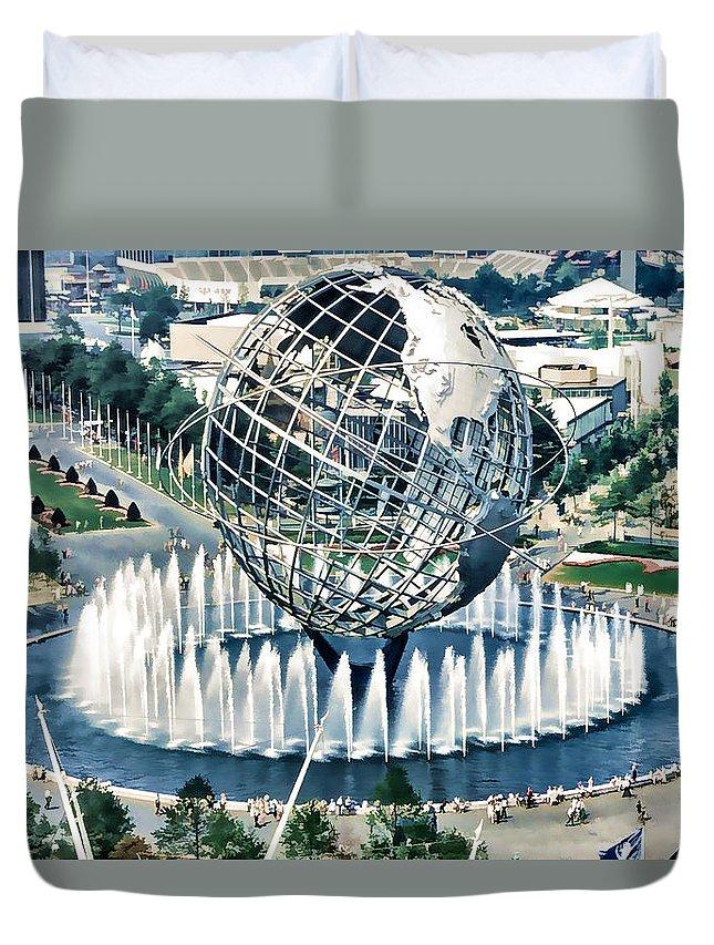 Fair Duvet Cover featuring the painting New York World's Fair by Jeelan Clark