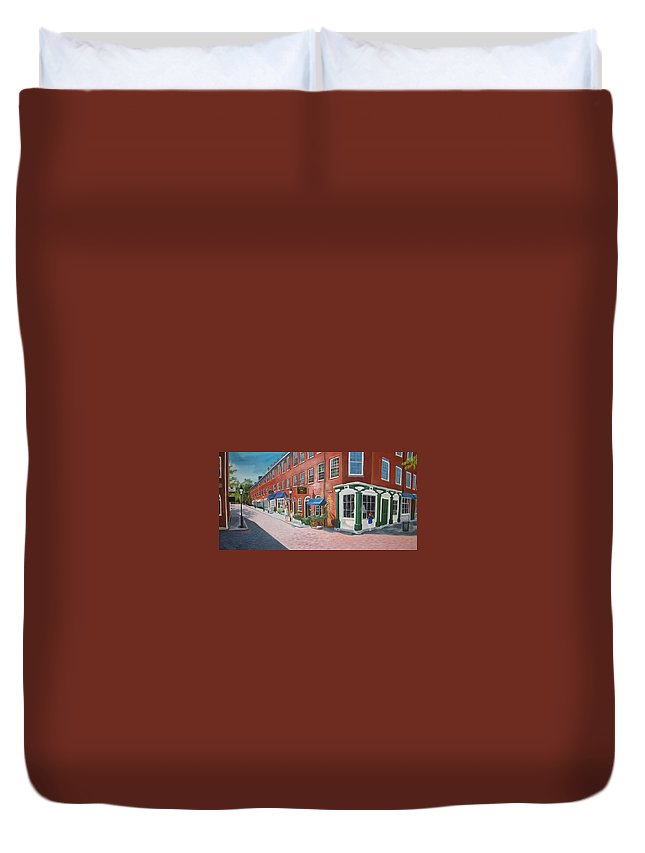 Mcgrath Duvet Cover featuring the painting Newburyport Ma by Leslie Alfred McGrath