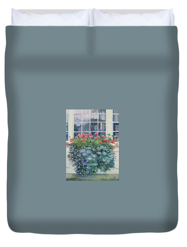 Leslie Mcgrath Duvet Cover featuring the painting Newburyport Window by Leslie Alfred McGrath