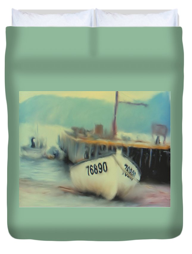 Newfoundland Duvet Cover featuring the digital art Newfoundland Fishing Port Impressions by Ian MacDonald