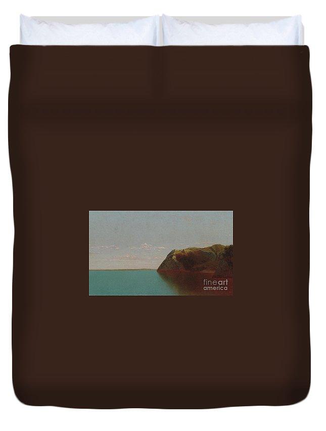 Sea Duvet Cover featuring the painting Newport Rocks, 1872 by John Frederick Kensett