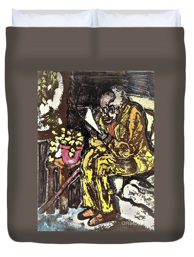 Age Duvet Cover featuring the mixed media Newspaper by Carliss Prosser