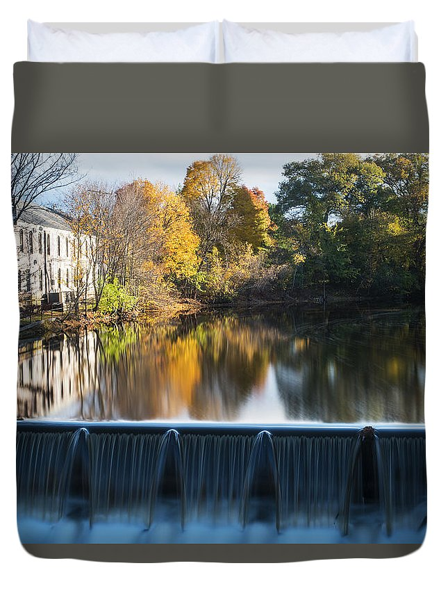 Newton Duvet Cover featuring the photograph Newton Upper Falls Autumn Waterfall Reflection by Toby McGuire