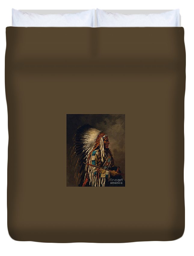 Traditional Duvet Cover featuring the painting Nez Perce Chief by Edgar S Paxson