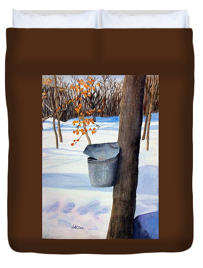 Sap Bucket. Maple Sugaring Duvet Cover featuring the painting Nh Goldmine by Sharon E Allen