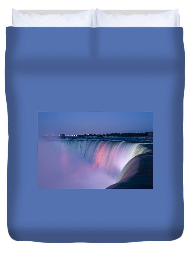 3scape Photos Duvet Cover featuring the photograph Niagara Falls at Dusk by Adam Romanowicz