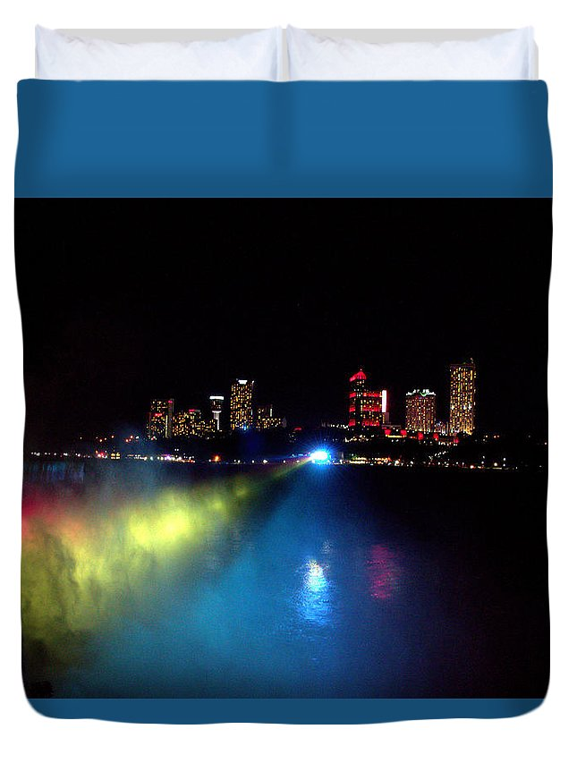 Night Duvet Cover featuring the photograph Niagara Falls by Chirag Patel