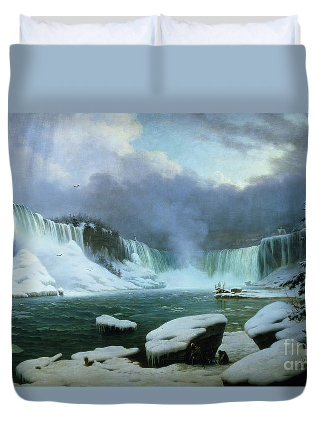 Niagara Falls (oil On Canvas) By Hippolyte Victor Valentin Sebron (1801-79) Duvet Cover featuring the painting Niagara Falls by Hippolyte Victor Valentin Sebron