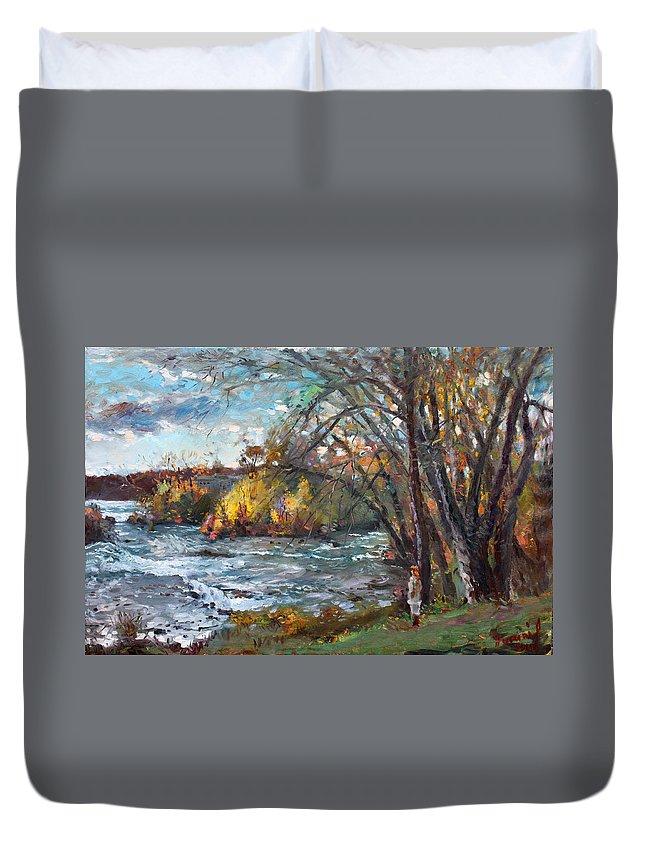 Niagara Falls Lake Duvet Cover featuring the painting Niagara Falls Lake by Ylli Haruni
