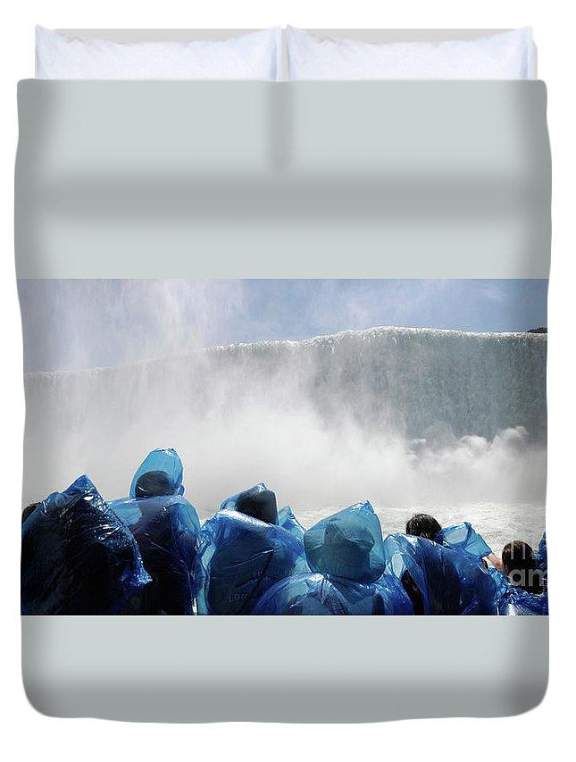Niagara Falls Duvet Cover featuring the photograph Niagara Falls Maid Of The Mist Boat Ride by Oleksiy Maksymenko
