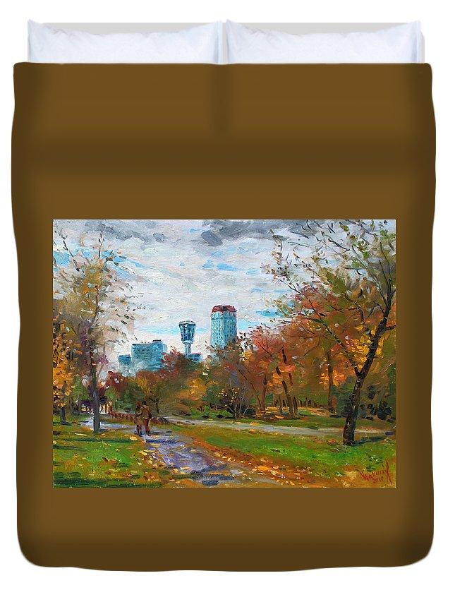 Niagara Falls Park Duvet Cover featuring the painting Niagara Falls Park by Ylli Haruni