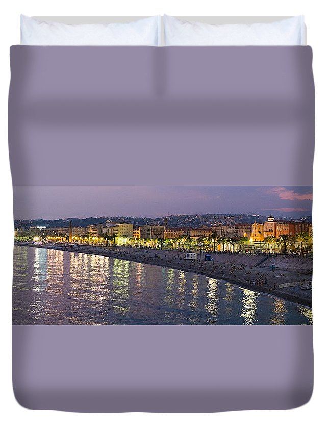 Nice Duvet Cover featuring the photograph Nice At Night by Nigel R Bell