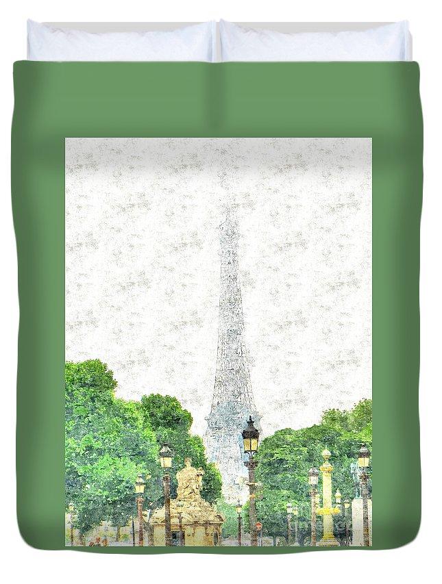 Yury Bashkin Duvet Cover featuring the drawing Nice Paris by Yury Bashkin