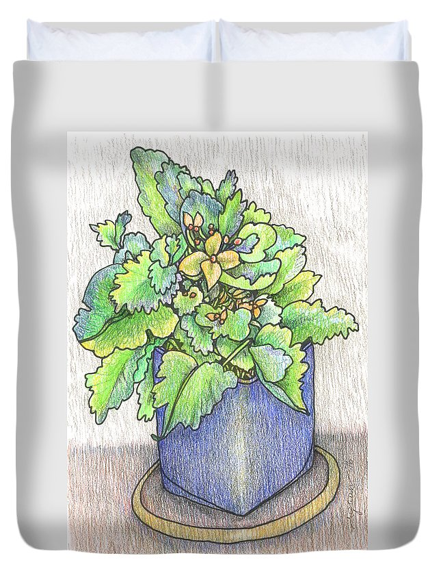 Potted Plant Duvet Cover featuring the painting Nice Plant by Rose Gauss