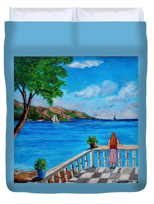 Balkonies Duvet Cover featuring the painting Nice View by Konstantinos Charalampopoulos