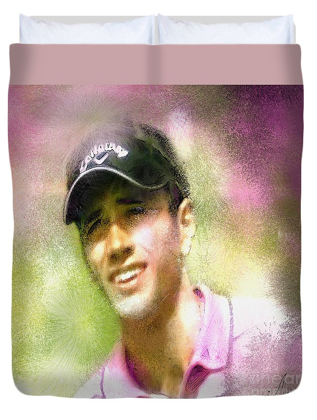 Golf Duvet Cover featuring the painting Nick Dougherty In The Golf Trophee Hassan II In Morocco by Miki De Goodaboom