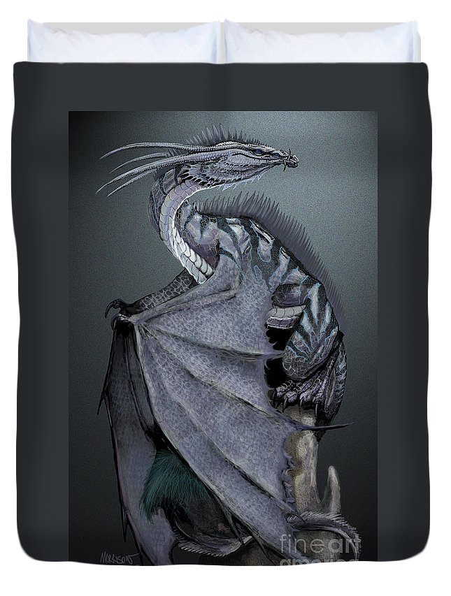Dragon Duvet Cover featuring the digital art Nickel Dragon by Stanley Morrison