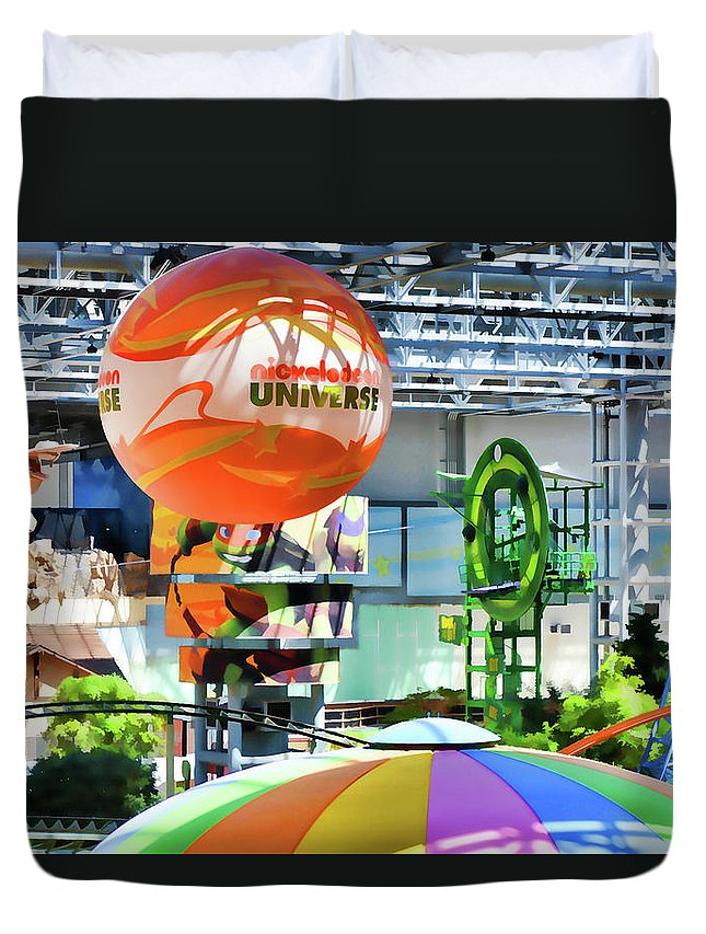 Nickelodeon Universe Duvet Cover featuring the painting Nickelodeon Universe Indoor Amusement Park by Jeelan Clark