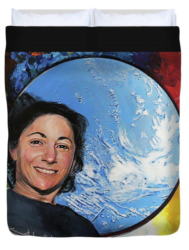 Nicole Stott Duvet Cover featuring the painting Nicole Stott by Simon Kregar
