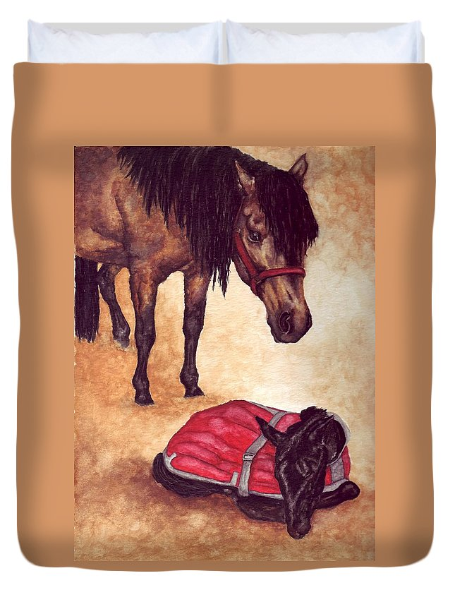 Horse Duvet Cover featuring the painting Nifty And Hannah by Kristen Wesch