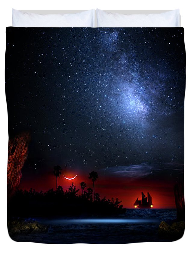 Pirate Duvet Cover featuring the photograph Night At Pirate's Lagoon by Mark Andrew Thomas