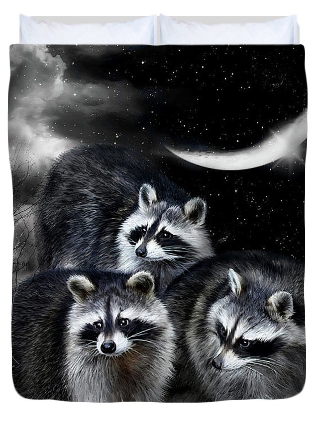 Raccoon Duvet Cover featuring the mixed media Night Bandits by Carol Cavalaris