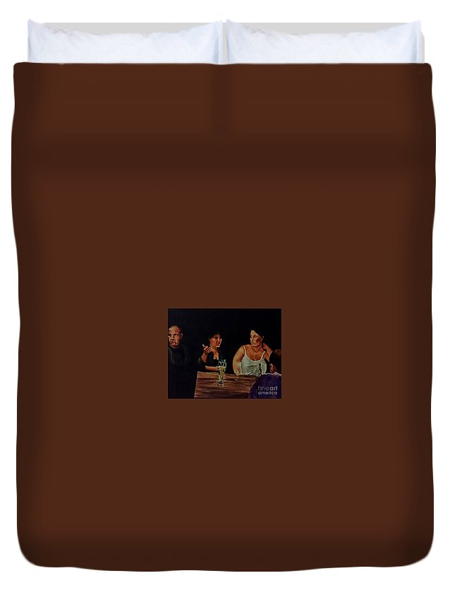 Night Duvet Cover featuring the painting Night Bar by Eli Gross