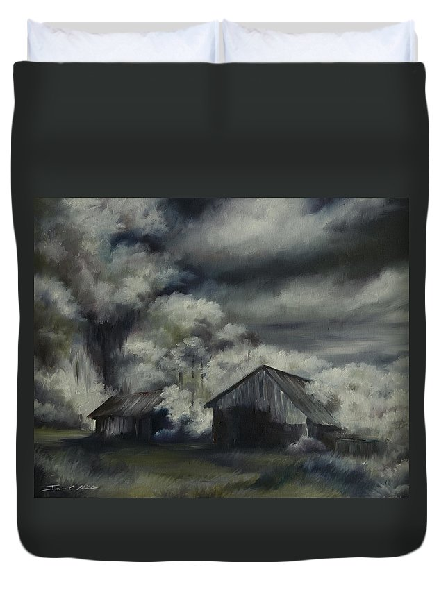 Motel; Route 66; Desert; Abandoned; Delapidated; Lost; Highway; Route 66; Road; Vacancy; Run-down; Building; Old Signage; Nastalgia; Vintage; James Christopher Hill; Jameshillgallery.com; Foliage; Sky; Realism; Oils; Barn Duvet Cover featuring the painting Night Barn by James Christopher Hill