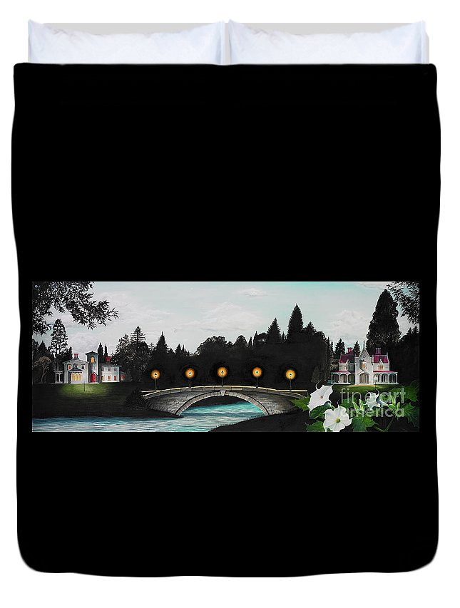 Architecture Duvet Cover featuring the painting Night Bridge by Melissa A Benson