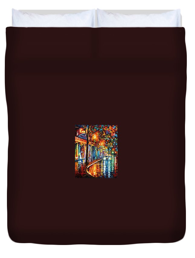 Afremov Duvet Cover featuring the painting Night Cafe by Leonid Afremov