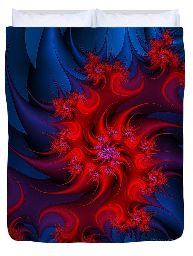 Fractal Duvet Cover featuring the digital art Night Fire by Jutta Maria Pusl