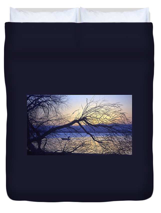 Barr Lake Duvet Cover featuring the photograph Night Fishing In Barr Lake Colorado by Merja Waters
