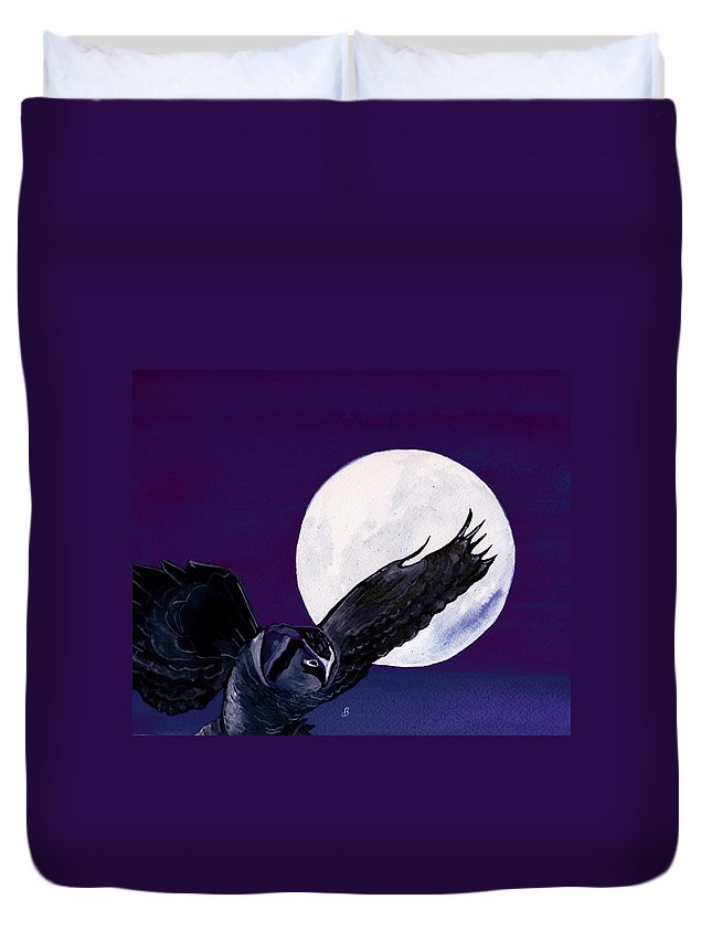 Landscape Duvet Cover featuring the painting Night Flight by Brenda Owen