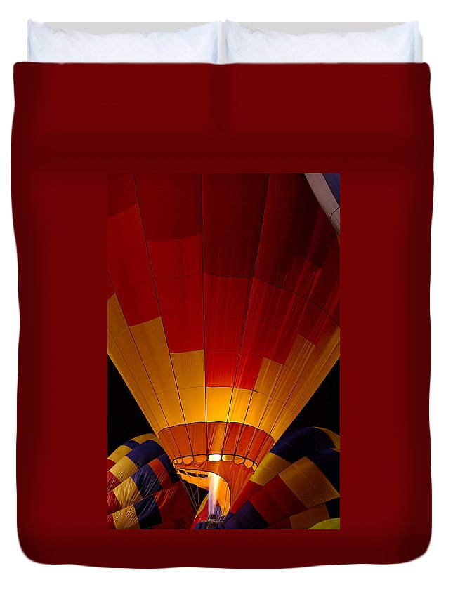 Balloon Duvet Cover featuring the photograph Night Flight by Mike Dawson