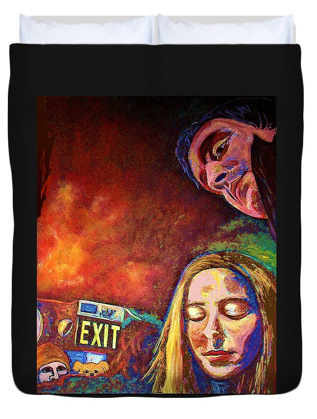 Girl Portrait Duvet Cover featuring the painting Night In The City by Frances Gillotti